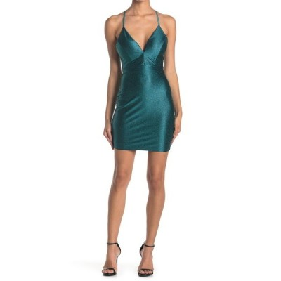 ラブニッキールー レディース ワンピース トップス Lace Back Glitter Knit Bodycon Dress EMERALD