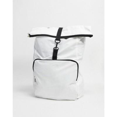 エイソス ASOS DESIGN メンズ バックパック・リュック バッグ backpack in white with roll top and black straps ホワイト