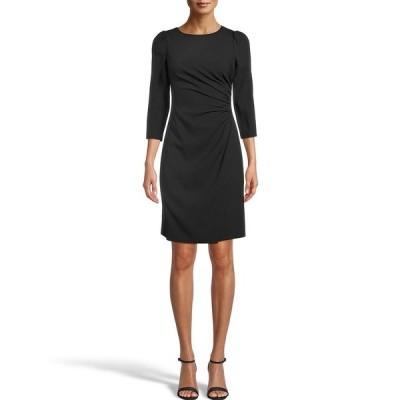 アンクライン レディース ワンピース トップス Ruched Side 3/4 Sleeve Textured Crepe Sheath Dress Anne Black