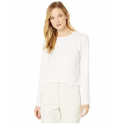 エイリーンフィッシャー シャツ トップス レディース Slubby Organic Cotton Jersey Round Neck Long Sleeve Top White