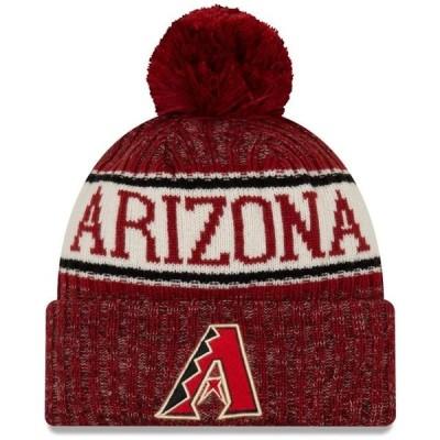 ユニセックス スポーツリーグ メジャーリーグ Arizona Diamondbacks New Era Primary Logo Sport Cuffed Knit Hat with Pom - Red - OSFA