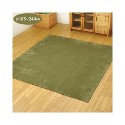 カーペット 3畳 約185×240cm グリーン 無地 ラグ 洗える ホットカーペット対応 イーズ イケヒコ (メーカー直送)(ラッピング不可)