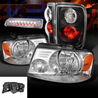 テールライト 04-08 F150クロームヘッドライト Cle   ar LED第3ブレーキランプブラックテール