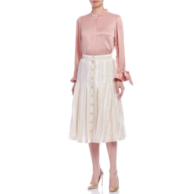 ラメライン ストライプ デザインボタン スカート ホワイト 38