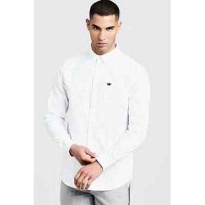 Boohoo メンズシャツ Boohoo Oxford Shirt In Long Sleeve white