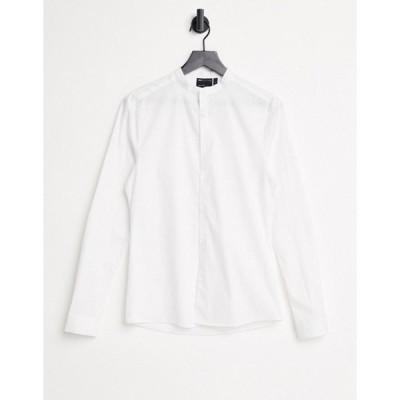 エイソス メンズ シャツ トップス ASOS DESIGN skinny fit shirt with band collar in white