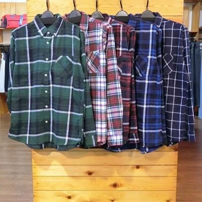 ネルシャツ チェックシャツ 長袖 秋 カジュアルシャツ レギュラー ボタンダウン  ホワイト レッド グリーン ブルー ネイビー
