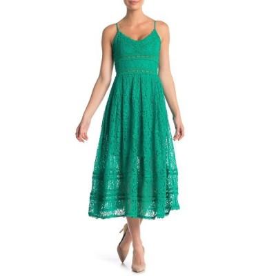 エヌ・エス・アール レディース ワンピース トップス Sleeveless Lace Midi Dress GREEN EMER