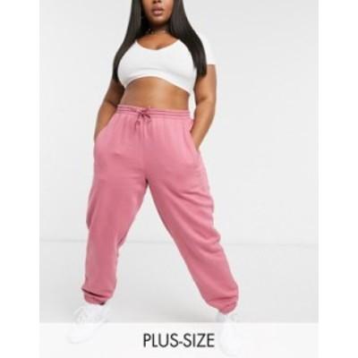 アディダス レディース カジュアルパンツ ボトムス adidas Originals 'Cozy Comfort' Plus oversized cuffed sweatpants in pink Pink
