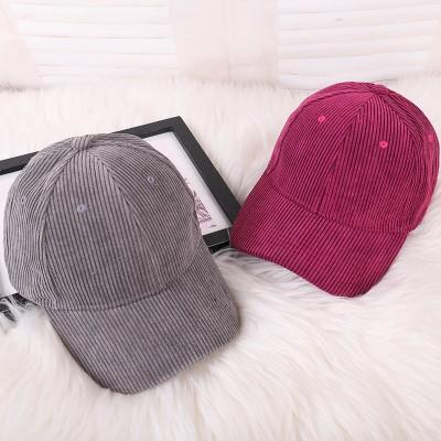 メンズとレディースの野球帽は、新しい韓国語版のライトボードの薄いコーデュロイの帽子カジュアルなつばのドームキャップを春します