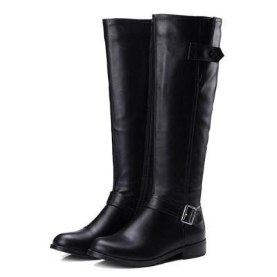 ジョッキーブーツ レディース 高筒靴 ロングブーツ 男女兼用 裏ボア 膝丈 ベルト 美脚 サイドジップ 防滑防寒 おしゃれ