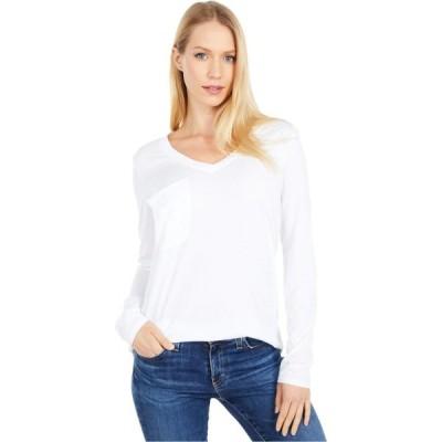 ボビ ロサンゼルス bobi Los Angeles レディース 長袖Tシャツ ポケット トップス Long Sleeve Pocket Tee in Lightweight Jersey White