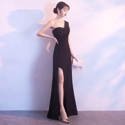パーティードレス 安い 可愛い イブニングドレス ナイトクラブ キャバ スリット ワンショルダー セクシー