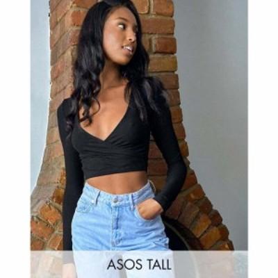 エイソス ASOS Tall レディース トップス ASOS DESIGN Tall wrap top in rib in black ブラック