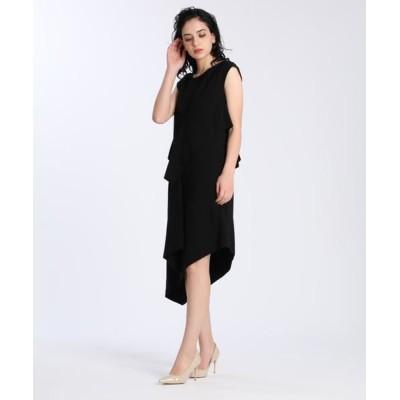 ef-de/エフデ 《M Maglie le cassetto》アシンメトリーデザインドレス ブラック 07