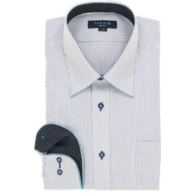 形態安定スリムフィット レギュラーカラーパイピング長袖ビジネスドレスシャツ/ワイシャツ