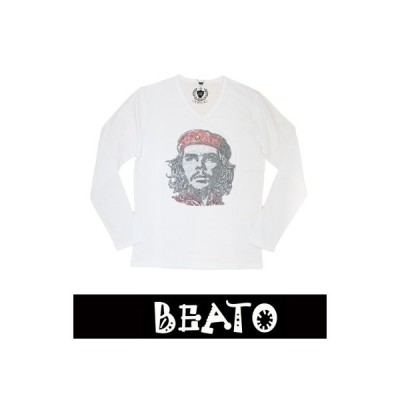 【BEATO】ベアート ロングTシャツ 長袖 ラインストーン 白×レッドゲバラ Vネック