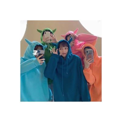 【送料無料】~ 秋冬 韓国風 ルース 裏起毛 フード付きセーター 女 オーバーサイズ 風 ガールフレンド服装 | 346770_A64159-5867401