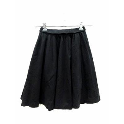 【中古】アーバンリサーチ URBAN RESEARCH スカート  ギャザー ひざ丈 F 黒 ブラック /AU レディース