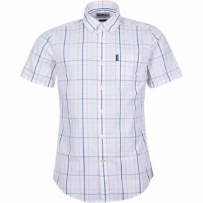 バブアー Barbour メンズ 半袖シャツ トップス Tattersall 18 Short Sleeve Tailored Shirt faded pink PI