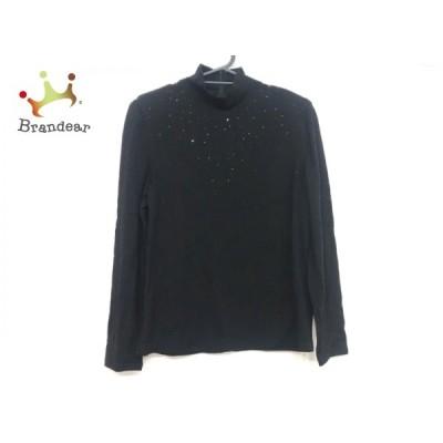 イタリヤ 長袖セーター サイズ11 M レディース 美品 - 黒 ハイネック/肩パッド/ラインストーン 新着 20210108