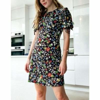 トップショップ Topshop レディース ワンピース ミニ丈 ワンピース・ドレス Collared Tie Sleeve Mini Dress Floral ブラック