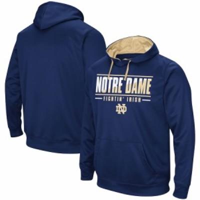 """メンズ パーカー """"Notre Dame Fighting Irish"""" Colosseum Dean Slash Stack Pullover Hoodie - Navy"""