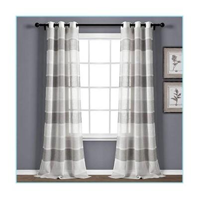 """新品Lush Decor Gray Textured Striped Grommet Sheer Window Curtain Panel Pair (84"""" x 38""""), 84"""" x 38"""