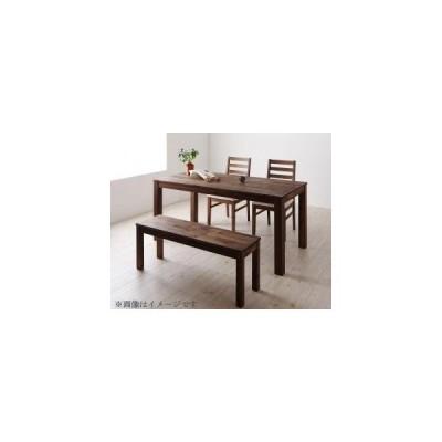 ダイニングテーブルセット 4人用 総無垢材ダイニング 4点セット テーブル+チェア2脚+ベンチ1脚 ウォールナット PVC座 W135 0406003627