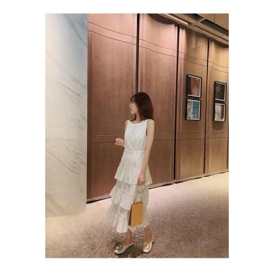 おしゃれの必需品👸✨韓国ファッション 2020夏 新作 減齢 気質 袖なし キャミ・ベアワンビス 怠惰な風 sweet系 ケーキスカート ハイウエスト ラウンドネック ジッパー ロングスカート