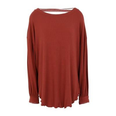 FREE PEOPLE T シャツ 赤茶色 XS レーヨン 93% / ポリウレタン 7% T シャツ