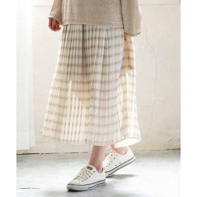 スカート シフォンチェックプリーツスカート