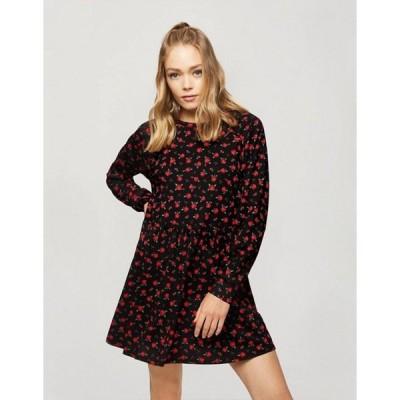 ミスセルフフリッジ レディース ワンピース トップス Miss Selfridge smock dress in black rose print