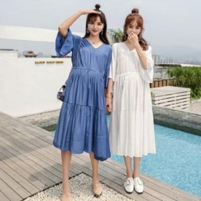 ワンピース レディース きれいめ 夏 40代 カジュアル ワンピース ロング丈 半袖 ティアードスカート 大きいサイズ 韓国風 ゆったり 妊娠