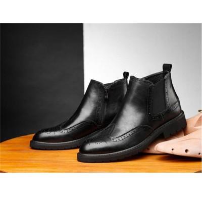 メンズブーツ サイドゴア 革靴  エンジニアブーツ ブーツ 2カラー