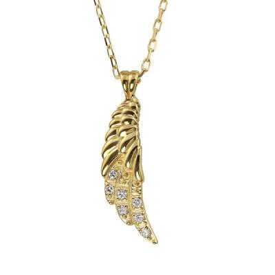 フェザー ネックレス ダイヤモンド 羽 レディース 18金 ペンダント K18 アズキチェーン 40cm 羽根 シンプル 大人 上品 オリジナル 人気 おすすめ プレゼント