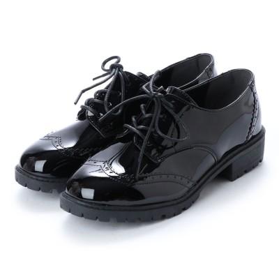 スクランブル scramble 定番レースアップメダリオンマニッシュシューズ おじ靴 (ブラック/エナメル)