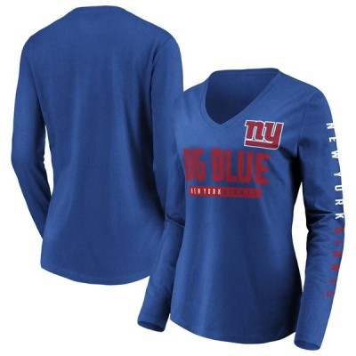 ファナティクス ブランデッド レディース Tシャツ トップス New York Giants Fanatics Branded Women's Team Slogan Long Sleeve V-Neck T-Shirt