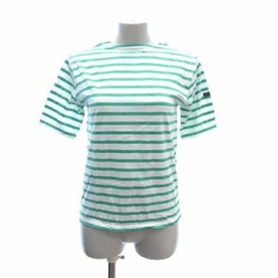 【中古】セントジェームス Tシャツ カットソー 半袖 ボートネック ボーダー XS 白 ホワイト 緑 グリーン レディース
