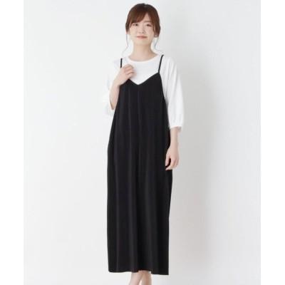 (pink adobe/ピンクアドベ)【M-L】プリーツキャミワンピース/レディース ブラック(019)