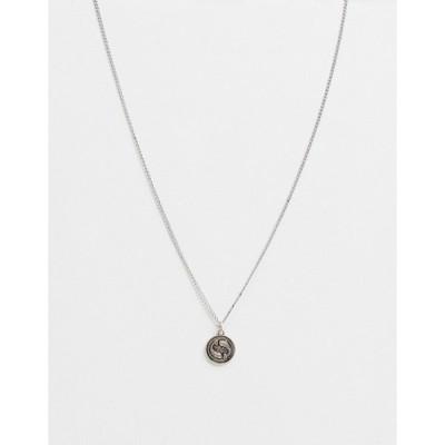 アイコンブランド メンズ ネックレス・チョーカー アクセサリー Icon Brand neckchain in silver with circular fish pendant Silver
