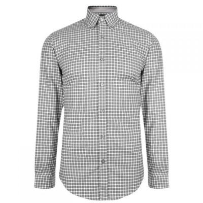 ヒューゴ ボス BOSS メンズ シャツ スリム トップス Slim Fit Stretch Checked Shirt Grey