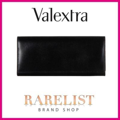 ヴァレクストラ VALEXTRA 財布 長財布 二つ折り 2つ折り 新作 ブラック 黒 シルバー レザー 本革
