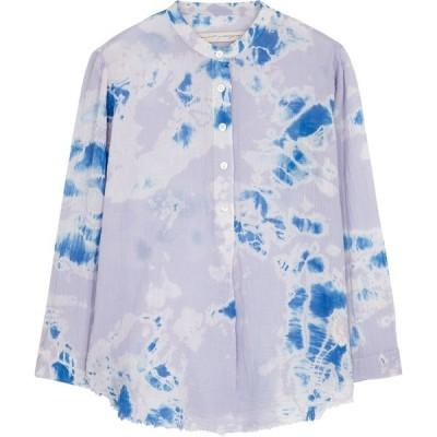 ラクエル アレグラ RAQUEL ALLEGRA レディース ブラウス・シャツ ヘンリーシャツ トップス Perfect Henley Tie-Dyed Gauze Shirt Purple