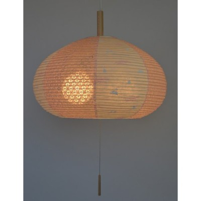 美濃和紙製 ちょうちん 提灯 ペンダントライト/インテリア照明 うさぎピンク×小梅ピンク