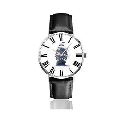 腕時計 ゴースト海賊船 ウオッチ クラシック カジュアル 防水 クォーツムーブメント レザー ベルトビジネス オ