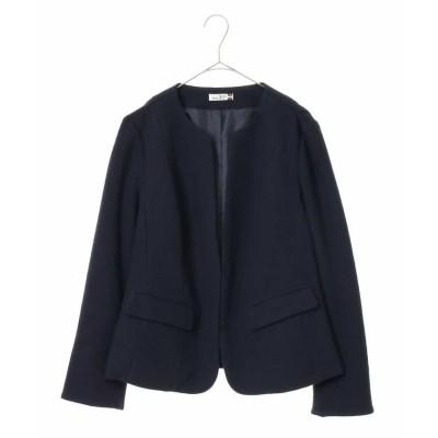 (eur3/エウルキューブ)【大きいサイズ】ノーカラーデザインジャケット/レディース ネイビー