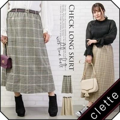 大きいサイズ/レディース/3L/4L/ラインベルト付チェック柄ロングスカート