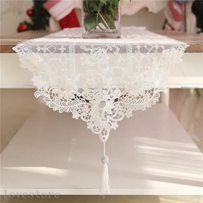 テーブルランナー テーブルカバー レース 半透明 透かし彫り 薔薇柄 刺繍 上品 豪華 ロマンチック 北欧風 防塵 防滑 耐久 撥水