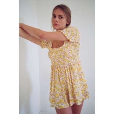 アーバンアウトフィッターズ Urban Outfitters レディース オールインワン ワンピース・ドレス UO Lydia Smocked Romper Yellow